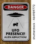 Small photo of HARROGATE, UK - August 7: UFO Presence Alien Abduction Area Warning Sign on August 7, 2016 in Harrogate.