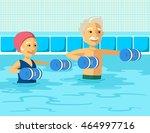 mature people doing aqua... | Shutterstock .eps vector #464997716