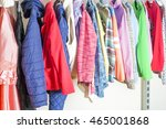 young woman choosing red dress... | Shutterstock . vector #465001868