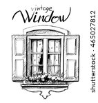 Vintage Window. Vector Sketch