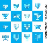 menorah pattern in blue and... | Shutterstock .eps vector #465031082