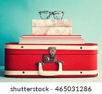 hipster eyeglasses over books... | Shutterstock . vector #465031286