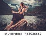 nordic goddess in ritual... | Shutterstock . vector #465036662