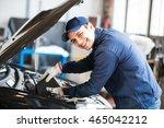 portrait of an auto mechanic... | Shutterstock . vector #465042212