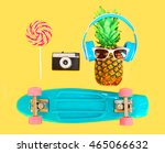 pineapple with headphones... | Shutterstock . vector #465066632