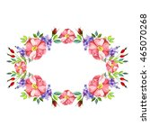 watercolor flower roses wreath | Shutterstock .eps vector #465070268