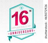 anniversary emblems 16... | Shutterstock .eps vector #465072926