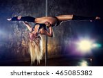 young blond sexy pole dance... | Shutterstock . vector #465085382