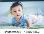 Asian Baby Cute Boy Lie On The...