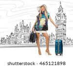 young woman travelling to... | Shutterstock . vector #465121898