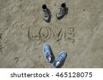 love  summer  romantic walks ... | Shutterstock . vector #465128075