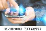 world map connected  social... | Shutterstock . vector #465139988