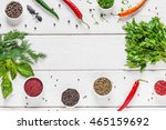 frame of herbs and spices on... | Shutterstock . vector #465159692