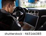 mechanic check the electronics...   Shutterstock . vector #465166385