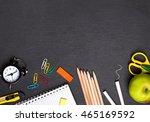 school supplies on the... | Shutterstock . vector #465169592
