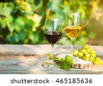 green grapes and two glasses of ... | Shutterstock . vector #465185636
