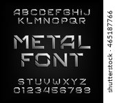 metal alphabet font. chrome... | Shutterstock .eps vector #465187766