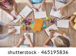 kids around the school table  | Shutterstock . vector #465195836