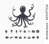 giant octopus isolated on white ... | Shutterstock .eps vector #465197216
