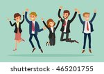 business people jumping... | Shutterstock .eps vector #465201755