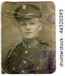 Vintage portrait of a soldier - stock photo