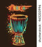 african drum tam tam with... | Shutterstock .eps vector #465203996