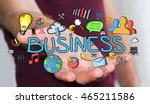 man using hand drawn business... | Shutterstock . vector #465211586