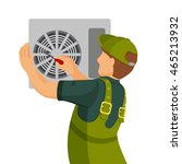 air conditioner unit repair and ... | Shutterstock .eps vector #465213932