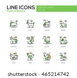 Stock vector farm animals set of modern vector line design icons and pictograms pig goat horse sheep 465214742