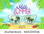 summer beach  with sunglasses ... | Shutterstock . vector #465234536