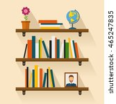 shelves with colorful books in... | Shutterstock .eps vector #465247835