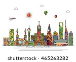 saudi arabia detailed skyline.... | Shutterstock .eps vector #465263282