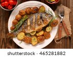 grilled fish with roasted... | Shutterstock . vector #465281882