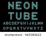 glowing cyan neon alphabet... | Shutterstock .eps vector #465283622
