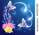 Magic  butterflies with  floral ornament, roses and glowing firework