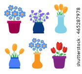 spring flowers in pots and... | Shutterstock . vector #465287978