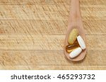 healthy supplements on wooden... | Shutterstock . vector #465293732