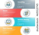 set of flat line business... | Shutterstock .eps vector #465313745