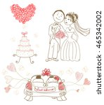 wedding cake with butterflies ... | Shutterstock .eps vector #465342002