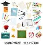 set of school supplies isolated ... | Shutterstock .eps vector #465342188