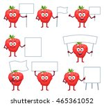 set of cartoon strawberry... | Shutterstock .eps vector #465361052