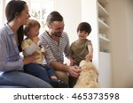 family sitting on window seat... | Shutterstock . vector #465373598