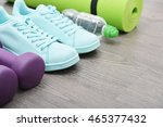 fitness equipment  sneakers ... | Shutterstock . vector #465377432