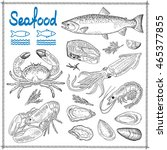 hand drawn seafood | Shutterstock .eps vector #465377855