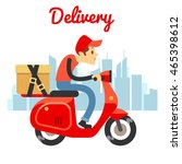delivery courier ride scooter... | Shutterstock .eps vector #465398612