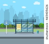 bus stop with city background.... | Shutterstock .eps vector #465405626