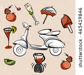 italian scooter  fruits and... | Shutterstock .eps vector #465419846