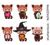 Set Of Cute Red Pandas
