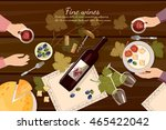wine tasting top view wine... | Shutterstock .eps vector #465422042