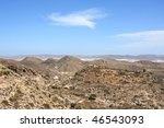 Arid landscape in Nijar in the province of Almeria, south-east of Spain. - stock photo
